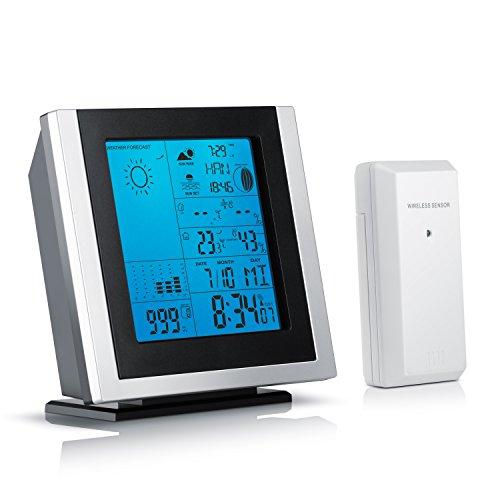 Brandson - Funkwetterstation mit Außensensor   inkl. Hygrometer / Barometer Mondphasen-Anzeige / Innen- und Außentemperatur uvm.   Außensensor   LED-Displaybeleuchtung