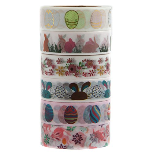 6 Rolls of Easter Themed Decorative Washi Masking Tape – For Easter Festive Decoration – Eggs, Bunny, Flowers, Red, Green, Pink - (15mm x 10m) - By Washi.Design (Happy Easter) (Easter Phrases)