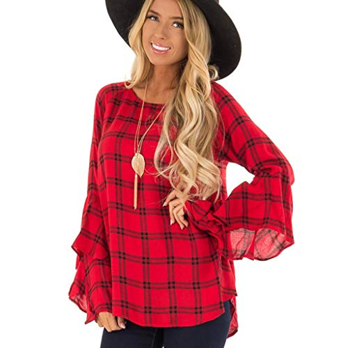 Women Tunic Tops Long Bell Sleeve Plaid T-Shirt Loose Irregular Hem Casual Blouse with Back Keyhole (S, -