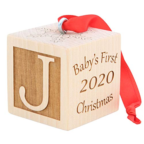 Baby's First Christmas Ornament, Choose from 3 Sizes, Personalized Christmas Wooden Block, Laser Engraved Wooden Baby…