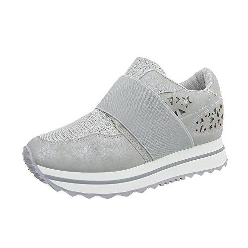 Fan5867 Clair para Zapatillas Plano Ital Zapatillas Gris Mujer Bajas Design Zapatos wqH6va