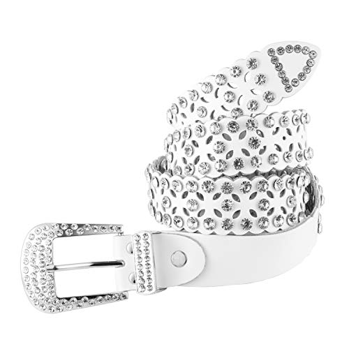 Womens Fashion Studded Western Crystal Berry Rhinestone Bling Cowgirl Leather Belt (White) - Western Rhinestone Belt White