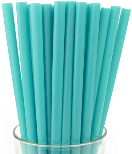 Made in USA Pack of 100 Individually Wrapped Teal Jumbo Plastic Smoothie (10 X 0.28) Drinking Straws (FDA-approved, Non-toxic, BPA-free)