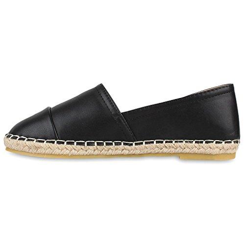 Japado Komfortable Damen Espadrilles Bequeme Slipper Funkelnde Glitzerapplikationen Modische Sommer Schuhe Gr. 36-41 Schwarz Schwarz