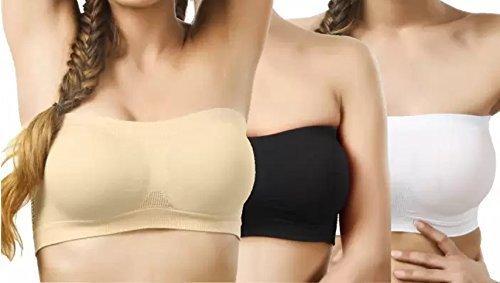 Tube Bra for Women Combo of 3 Free Size Black: White: Beige
