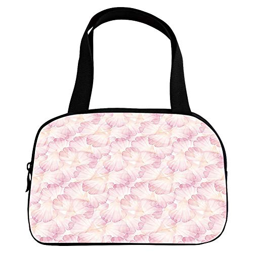 Polychromatic Optional Small Handbag Pink,Pastel,Soft Pink Flower Petals Watercolor Painting Style Rose Blossom Romantic Gentle,Light Pink White,for Girls,Print Design.6.3