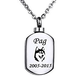 Valyria Polished Blank Stamp Charm Urn Pendant Necklace Memorial Ash Keepsake with Personalized Engraving