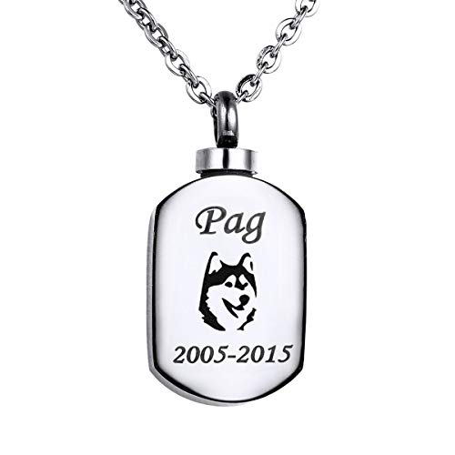 Lab Dog Pendant - Valyria Polished Blank Stamp Charm Urn Pendant Necklace Memorial Ash Keepsake with Personalized Engraving