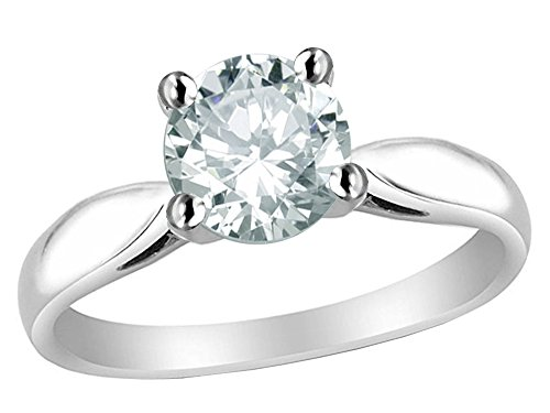 - Star K 7mm Round White Topaz Ring Sterling Silver Size 8.5