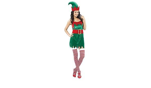 Disfraz de duende de Navidad para mujer: Amazon.es: Juguetes y juegos