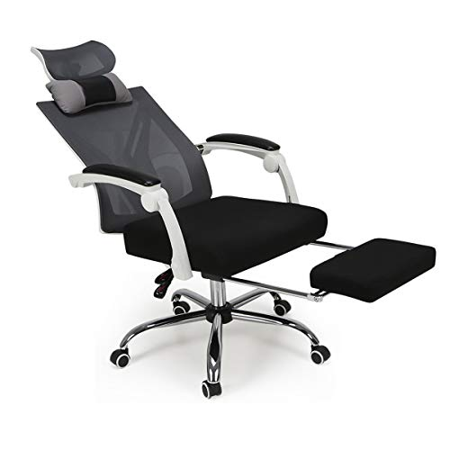 Hbada Recliner Mesh Office Computer Chair with Rotatable Headrest, Desk Chair w/footrest, White