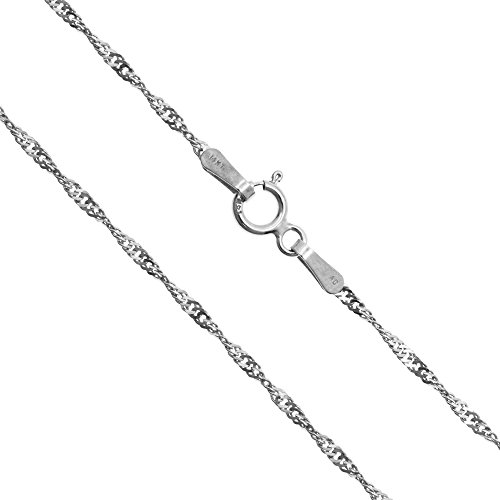Honolulu Jewelry Company 14K Solid White Gold 1.5mm Singapore Twisted Curb Chain-18 - Jewelry Hawaiian White 14k Gold