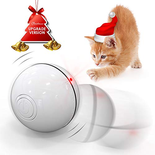 DELOMO Smart Interactive Cat Toy Ball, Automatic Rolling Ball, USB Rechargeable Cat Light Toy, 360 Degree Self Rotating Ball with Spinning Light, 2019 Upgraded Cat Exercise Chaser Toy