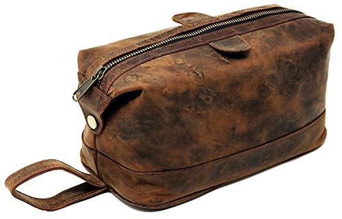 Leather toiletry bag dopp kit - gift for men shaving pouch makeup purse travel organizer
