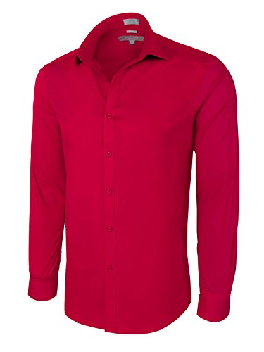 Slim Fit Cotton/Spandex Dress Shirt - Red XLarge (17-17.5) 34/35 (Waiter In French)