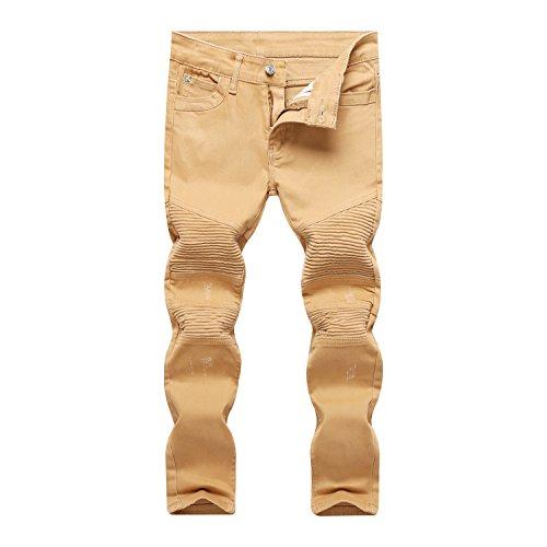 Wholesale Fashion Jeans (Boy's Biker Moto Runway Khaki Distressed Skinny Fit Stretch Fashion Jeans Pants 8 Slim)