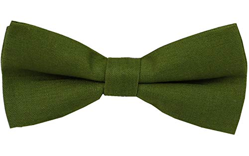 Mens Charm Solid Linen Pretied Bowtie - Various Colors (Olive Green)