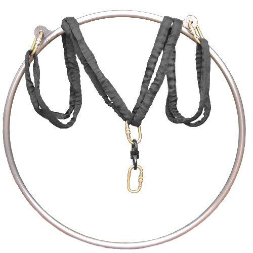 Cheap runner deer Complete Lyra/aerial hoop/aerial rings Set,include lyra,carabiners, swivel, and spanset (35″(90), Double tab)