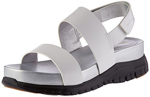 Cole Haan Women's Zerogrand Slide Platform Sandal, Optic White Leather/CH Argento/Black, 7.5 B US by Cole Haan