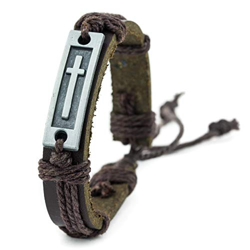 Cross Leather Bracelet for Men: Confirmation Gifts for Teenage Boys or First Communion (Brown) ()