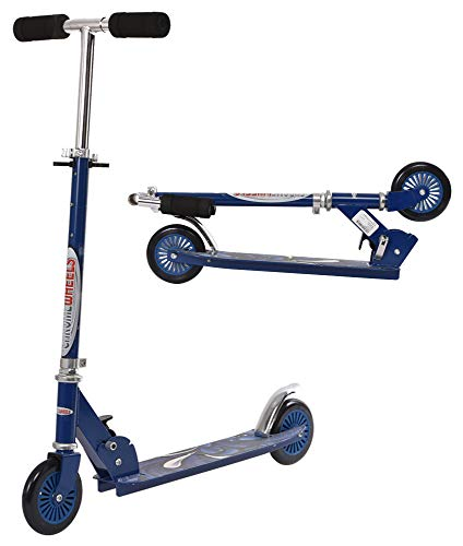 ChromeWheels Scooter for Kids, Deluxe Kick Scooters 4 Adjustable Height 2 Wheels Foldable, Best Gifts for Boys Girls, Age 3-8 Years Old, 110lb Weight Limit, Blue
