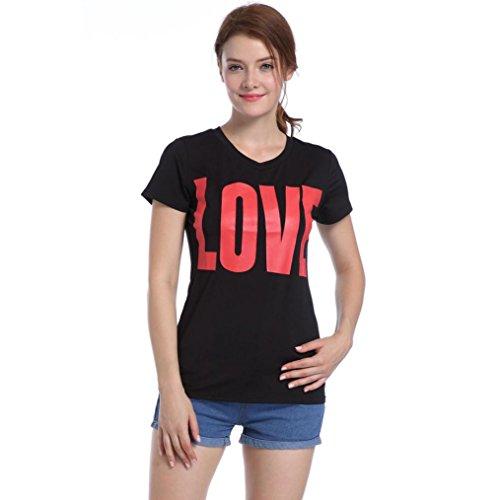 Winwintom Las mujeres de moda de manga corta camiseta PRINT Casual Tops ropa Camisa Blusa de amor Negro