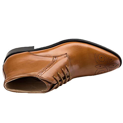 Shoes Brown Leather Chukka Santimon Brogue Lace Toe up Dress Ankle Mens Boots gq4w4x6Pv