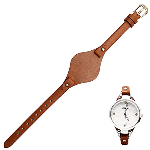 Span Realm Women's watchband Genuine Leather Strap Colors Fossil es4119 es4176 es3262 3077 Replacement 8mm (Light Brown-Golden Clasp, 8) ()