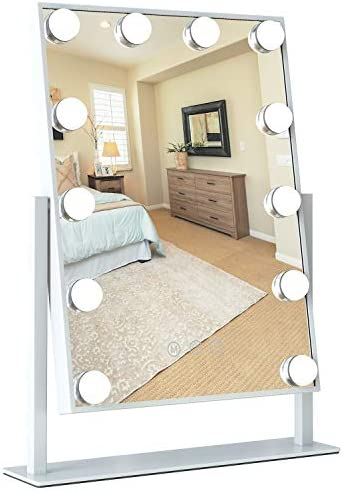 USHOWER Large Hollywood Mirror with Led Lights, 20-inch Rectangle White Tabletop Makeup Vanity Mirror, Smart Touch Screen & 3 Light Modes, Includes Handheld 10x Magnifier