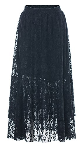 (Chartou Women's Sweet Elastic-Waist Asymmetric Floral Laced A-Line Layered Long Flare Skirts (Black, Large))