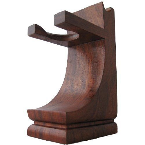 Mission Style Wood Shave Stand for Razor and Brush - Walnut Finish Safety Razor And Brush Stand