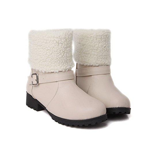 AgooLar Women's Round Closed Toe Low-Heels PU Low-top Solid Boots Beige n5Lh9U3C