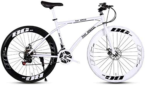 YXWJ Bicicletas Bicicletas de montaña Unisex Doble Freno de Disco 24 de Velocidad de Marcha Adulto de Bicicletas de Carreras Obra de la Escuela for Transporte Negro portátil y Color Blanco: Amazon.es: