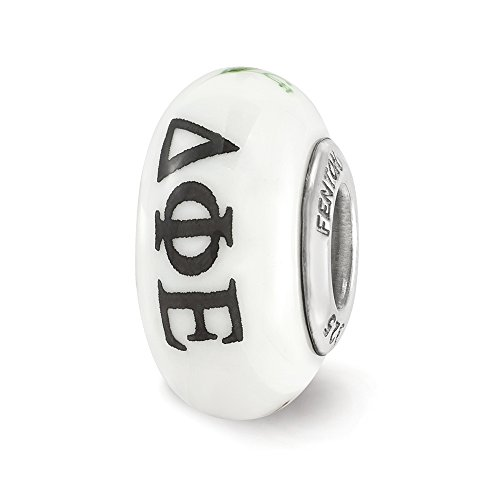 Fenton Hand Painted Delta Phi Epsilon Glass & Sterling Silver Charm ()