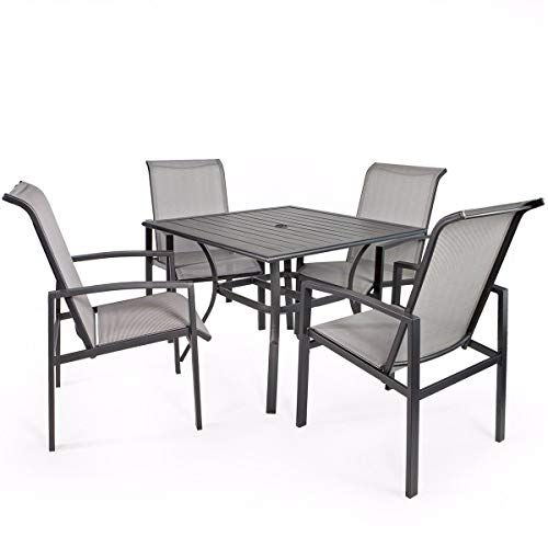 - 9TRADING 5 Piece Outdoor Patio Dining Table and Chair Set Outdoor Power Coated
