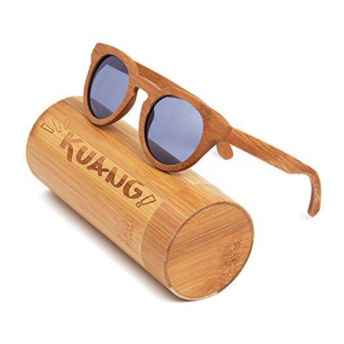 KUANG Wayfarer Bamboo Wood Sunglasses with Polarized - Classic Folding Polarized Wayfarer