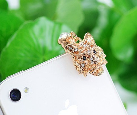 Dust Plug- Earphone Jack Accessories Crystal Lovely Cutely Lion / Cell Charms / Ear Jack for Iphone 4 4s / Ipad / Ipod Touch / Other 3.5mm Ear Jack (With Cutely Gift Box)------- From Usa--takes 2-6 Working Days with Shelley.kz Inc-------