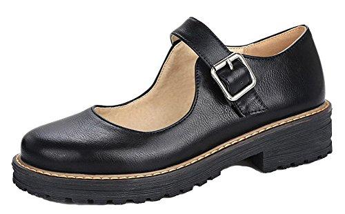 Black Pumps Women's Solid PU Low WeiPoot Buckle Shoes Heels q6dxBdYw8