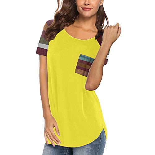 Toimothcn Women's Striped Basic Tees Round Neck Color Block Short Sleeve Loose Fit T-Shirt Tops with Pocket(Yellow,S)