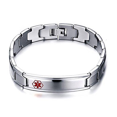 Stainless Steel Medical Alert ID Tag Cross Logo Wristband Chain Bracelet for Men,Free - Heart And Cross Logo