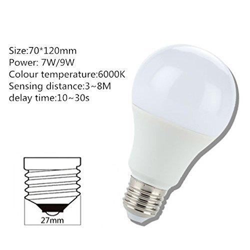 Kendal E27 LED radar Motion Detection Light Sensor Pir Light Bulb Lamp Auto Switch Stairs Night Light Detection Range 24-36 feet (9 Watts) by Kendal (Image #5)