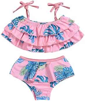 da60291480 Cuekondy Baby Girls Bikini Ruffle Swimsuit Bathing Suit Set Leaf Printed  Swimwear Tops+Shorts for