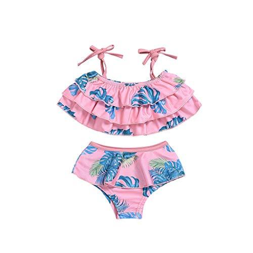 (✔ Hypothesis_X ☎ Children Kids Girls Two Pieces Bikini Ruffle Beach Suspender Swimsuit+Shorts Swimwear Set Outfit)