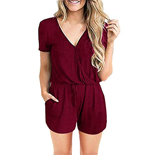 (Dainzuy Rompers for Women Short Sleeve V Neck Wrap Shorts Jumpsuit Pleated Casual Loose Romper Jumpsuits with Pockets Red)