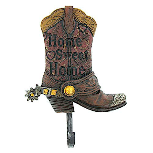 - Coconut Grove Galleria Cowboy Cowgirl Western Home Sweet Home Boot Brown Gold Silver Spur Polyresin Metal Wall Mount Hook