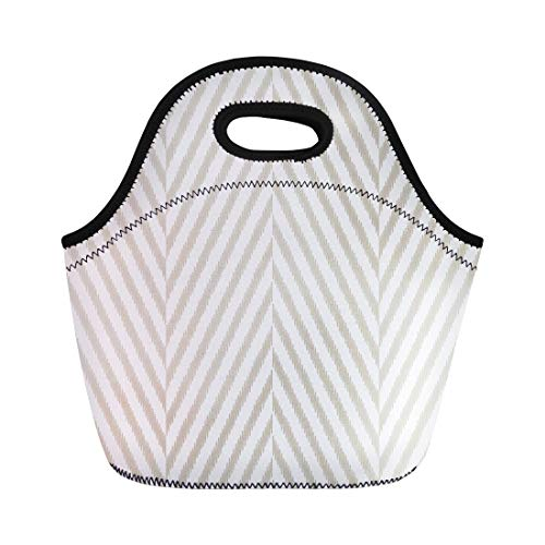 Semtomn Neoprene Lunch Tote Bag Beige Woven Herringbone Pattern Abstract Chevron Tweed Twill Creative Reusable Cooler Bags Insulated Thermal Picnic Handbag for Travel,School,Outdoors,Work