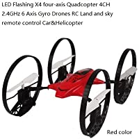 SYR-LED Flashing four-axis 4CH 2.4GHz 6-Axis Gyro RC Quadcopter 4-in-1 Flying Car Remote Control Drone 360 degree roll Helicopter- Red