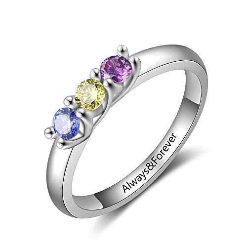 Personalized Mother Rings with 3 Children Simulated Birthstones for Mother's Day Best Friend Rings for 3 Girls Mothers Ring for Mom (9)