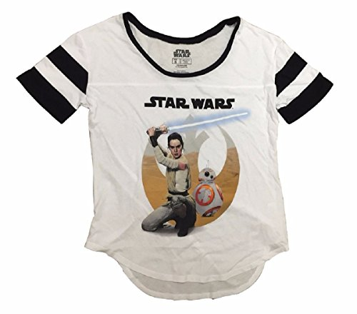 Star Wars The Force Awakens Rey And BB-8 Fashion T-Shirt (Medium)