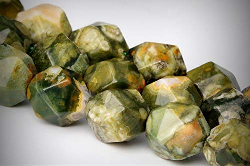 Approx.59 Beads Lot - 5-6mm Rainforest Rhyolite Star Cut Faceted Color Grade AAA Loose Jewelry Making Beads 13